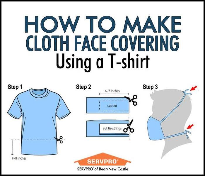 Instructions on how to make a face mask using a t-shirt