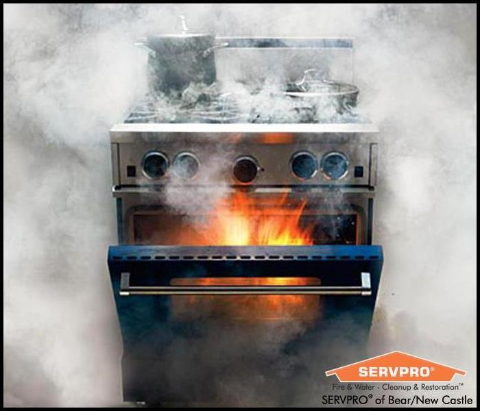 Oven fire with smoke