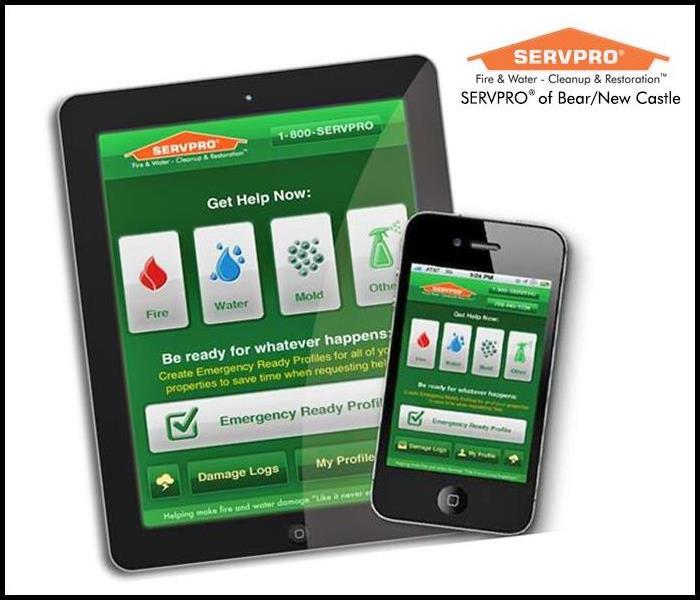 Ipad and iphone with SERVPRO's Emergency Ready Profile Mobile App